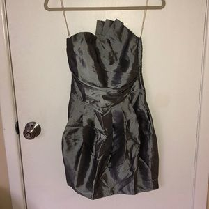 Silver metallic party dress size S with pleats
